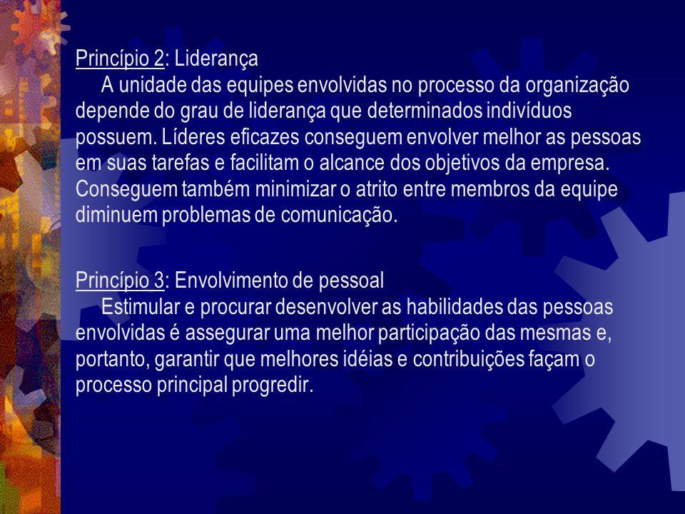 Princípio 2: Liderança A unidade das equipes envolvidas no processo da organização depende do grau de liderança que determinados indivíduos possuem. L