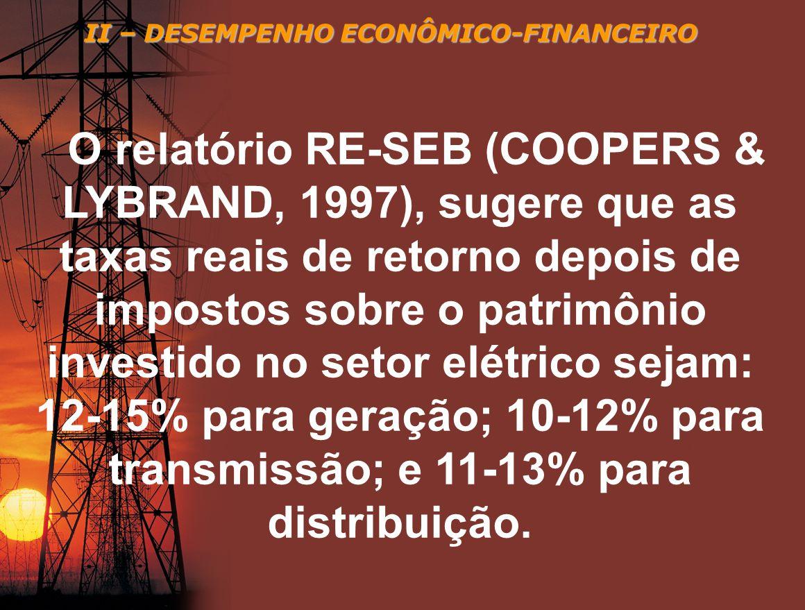 II – DESEMPENHO ECONÔMICO-FINANCEIRO O relatório RE-SEB (COOPERS & LYBRAND, 1997), sugere que as taxas reais de retorno depois de impostos sobre o pat
