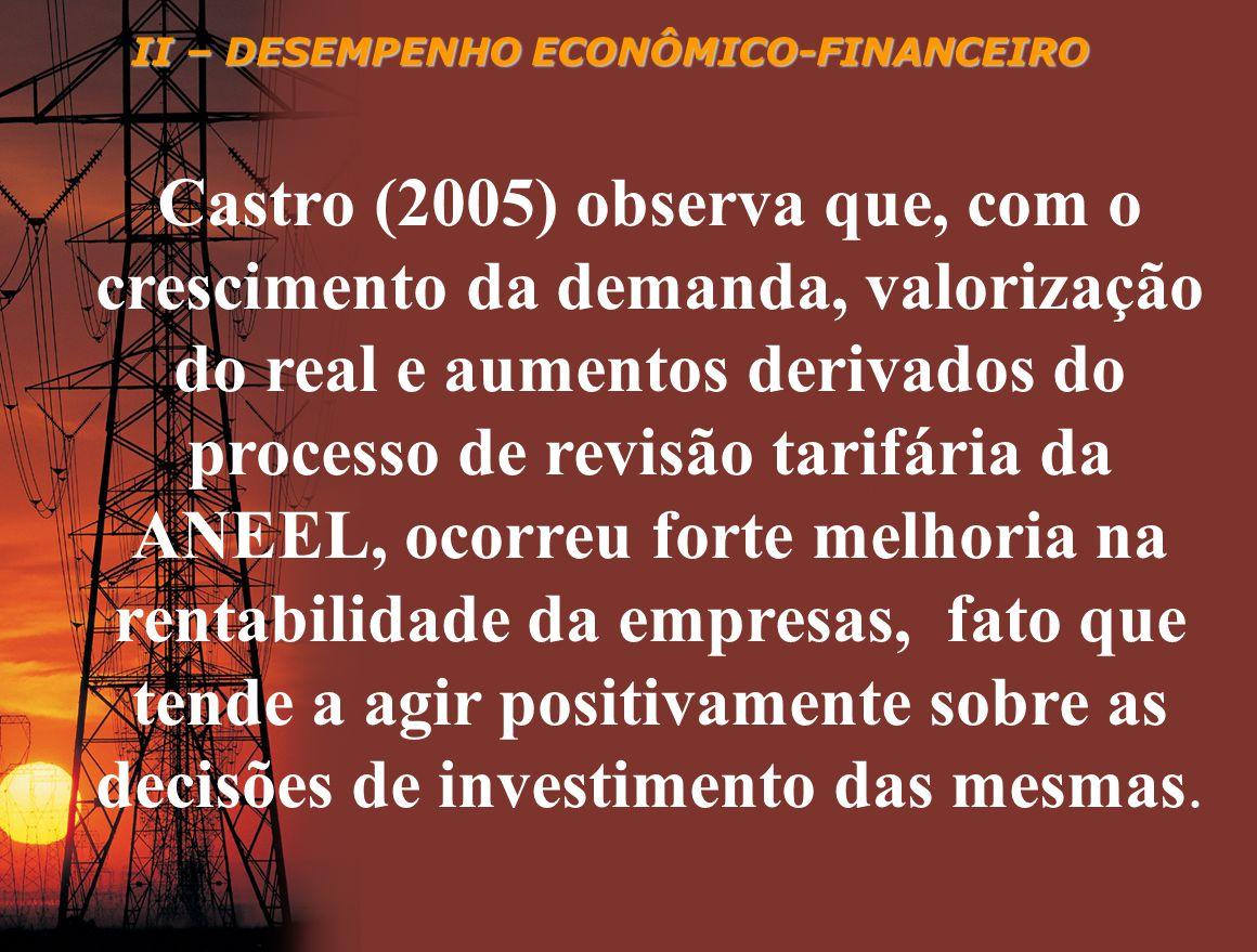 II – DESEMPENHO ECONÔMICO-FINANCEIRO Castro (2005) observa que, com o crescimento da demanda, valorização do real e aumentos derivados do processo de