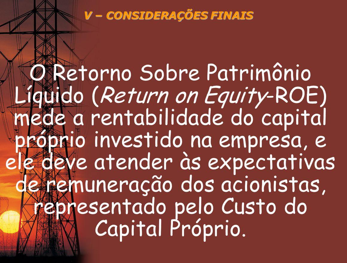 V – CONSIDERAÇÕES FINAIS O Retorno Sobre Patrimônio Líquido (Return on Equity-ROE) mede a rentabilidade do capital próprio investido na empresa, e ele