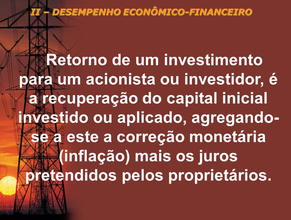 II – DESEMPENHO ECONÔMICO-FINANCEIRO Retorno de um investimento para um acionista ou investidor, é a recuperação do capital inicial investido ou aplic
