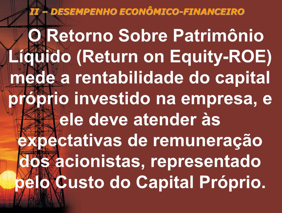 II – DESEMPENHO ECONÔMICO-FINANCEIRO O Retorno Sobre Patrimônio Líquido (Return on Equity-ROE) mede a rentabilidade do capital próprio investido na em