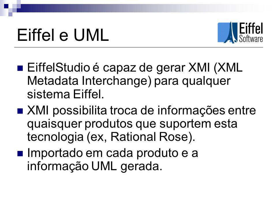 Eiffel e UML EiffelStudio é capaz de gerar XMI (XML Metadata Interchange) para qualquer sistema Eiffel. XMI possibilita troca de informações entre qua