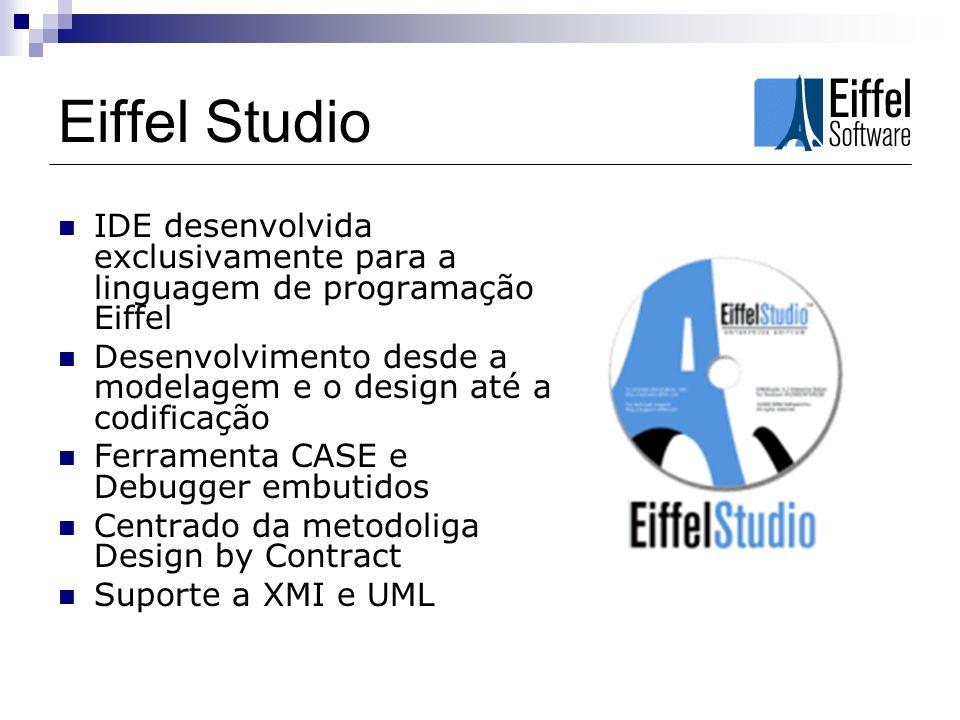 Eiffel Studio IDE desenvolvida exclusivamente para a linguagem de programação Eiffel Desenvolvimento desde a modelagem e o design até a codificação Fe