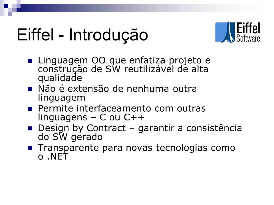 Eiffel - Introdução Linguagem OO que enfatiza projeto e construção de SW reutilizável de alta qualidade Não é extensão de nenhuma outra linguagem Perm