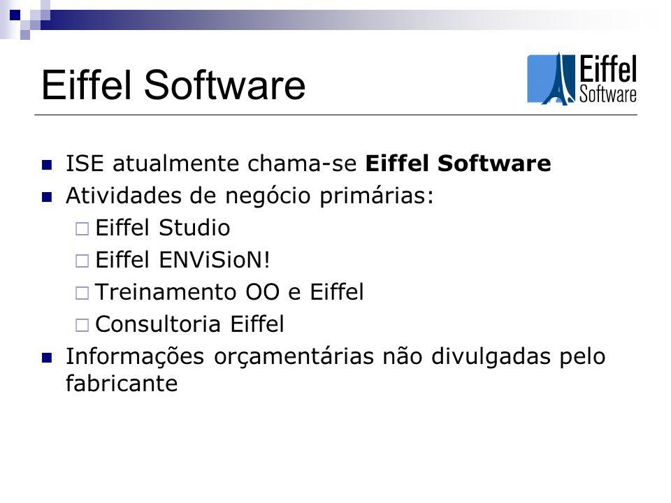 Eiffel Software ISE atualmente chama-se Eiffel Software Atividades de negócio primárias: Eiffel Studio Eiffel ENViSioN.