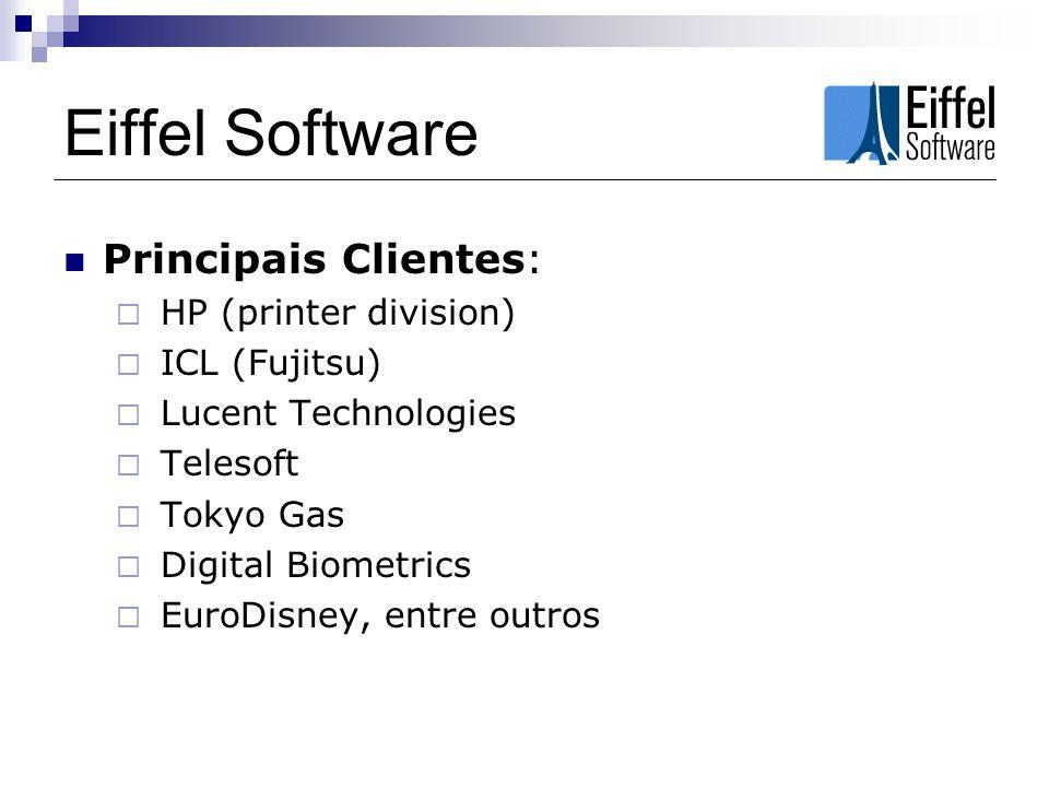A linguagem Eiffel Puramente OO Design inspirado em preocupações levantadas por Engenheiros de Software Visa construir softwares robustos e reusáveis Aumento de Produtividade – 2 a 10x Custo até 80% mais baixo Nível de qualidade 10x maior