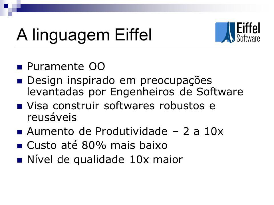 A linguagem Eiffel Usada eficientemente em todas as áreas de computação Roda facilemente em ambientes como: Windows (e.NET), Unix, Linux e VMS.