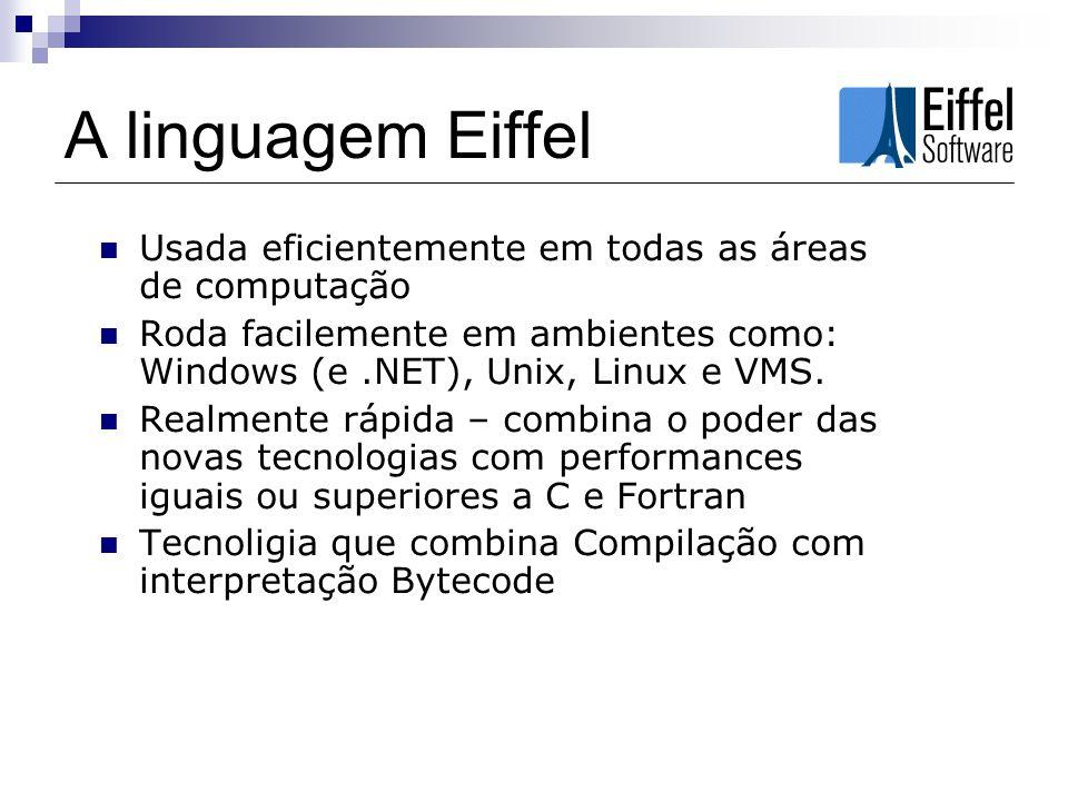 A linguagem Eiffel Interface com C, C++ (acesso a classes, métodos e bibliotecas) Bibliotecas gráficas disponíveis para todos os tipos de aplicações Acesso nativo a bancos de dados ODBC, Oracle, Sybase e Ingres Eiffel Studio Transparente para o.NET