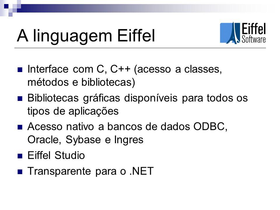 A linguagem Eiffel Interface com C, C++ (acesso a classes, métodos e bibliotecas) Bibliotecas gráficas disponíveis para todos os tipos de aplicações A