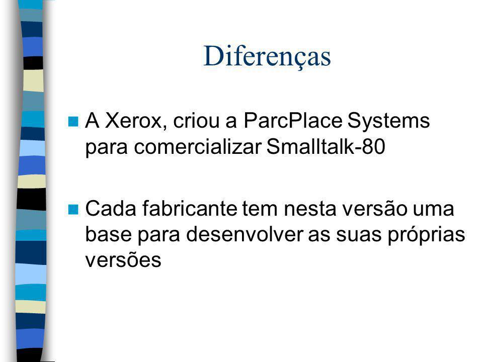Diferenças A Xerox, criou a ParcPlace Systems para comercializar Smalltalk-80 Cada fabricante tem nesta versão uma base para desenvolver as suas própr
