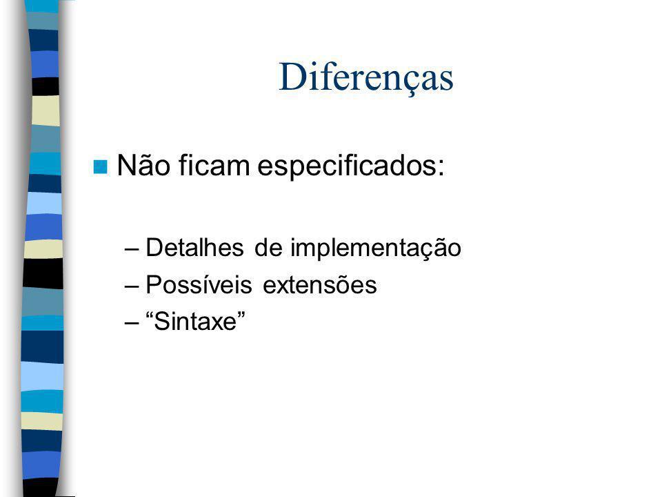 Diferenças Não ficam especificados: –Detalhes de implementação –Possíveis extensões –Sintaxe