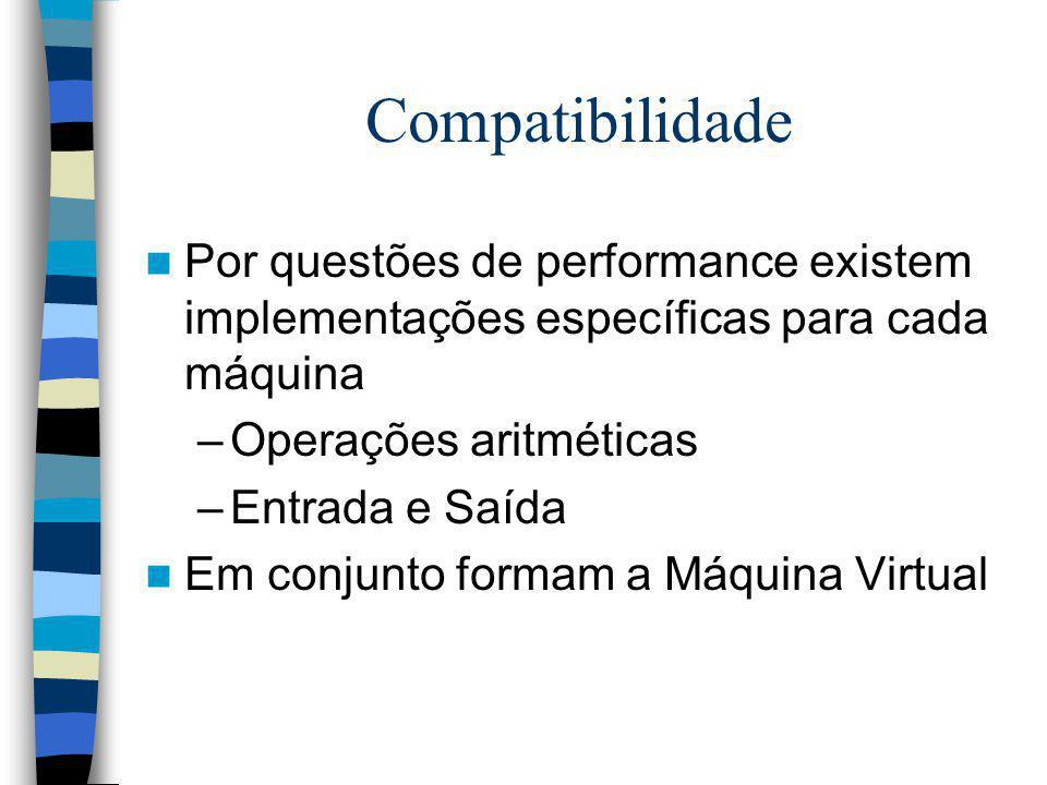 Compatibilidade Por questões de performance existem implementações específicas para cada máquina –Operações aritméticas –Entrada e Saída Em conjunto f