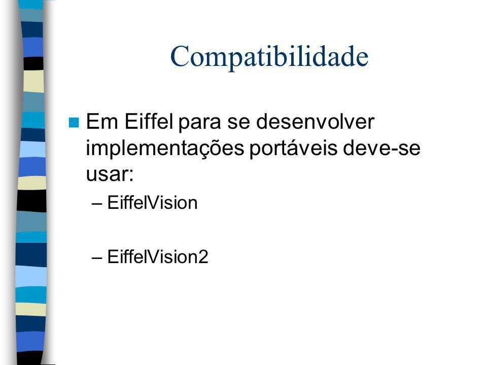 Compatibilidade Em Eiffel para se desenvolver implementações portáveis deve-se usar: –EiffelVision –EiffelVision2