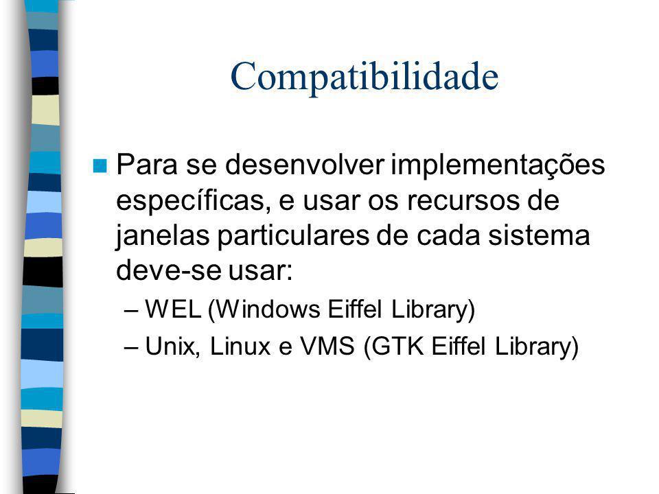 Compatibilidade Para se desenvolver implementações específicas, e usar os recursos de janelas particulares de cada sistema deve-se usar: –WEL (Windows