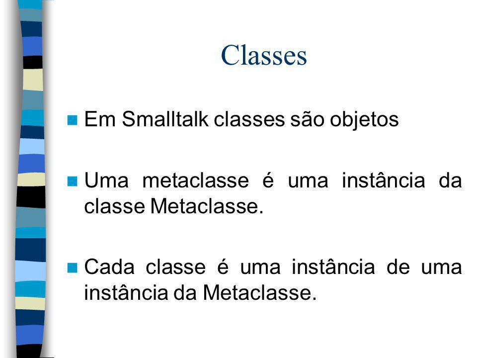 Classes Em Smalltalk classes são objetos Uma metaclasse é uma instância da classe Metaclasse. Cada classe é uma instância de uma instância da Metaclas