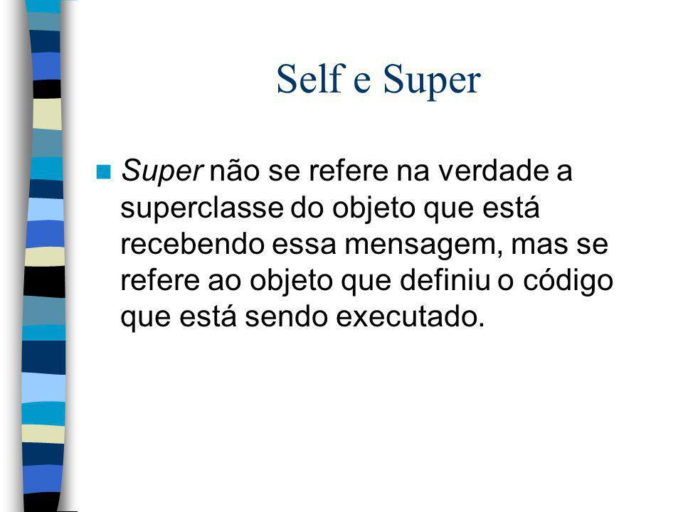 Self e Super Super não se refere na verdade a superclasse do objeto que está recebendo essa mensagem, mas se refere ao objeto que definiu o código que