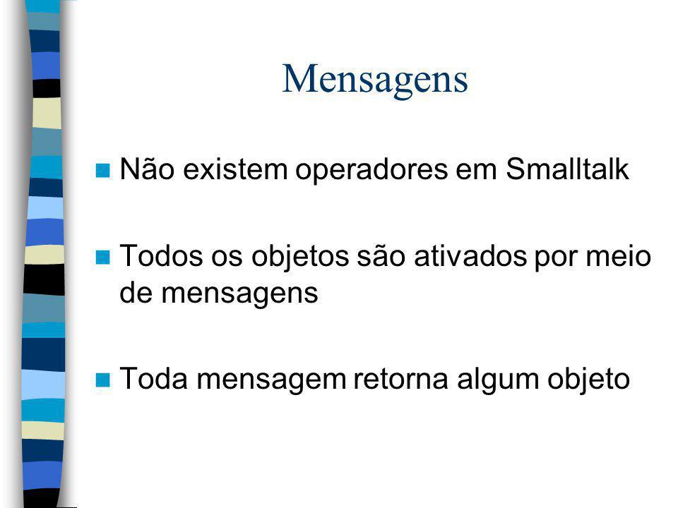 Mensagens Não existem operadores em Smalltalk Todos os objetos são ativados por meio de mensagens Toda mensagem retorna algum objeto
