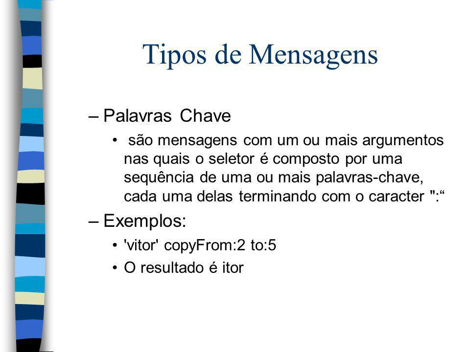 Tipos de Mensagens –Palavras Chave são mensagens com um ou mais argumentos nas quais o seletor é composto por uma sequência de uma ou mais palavras-ch