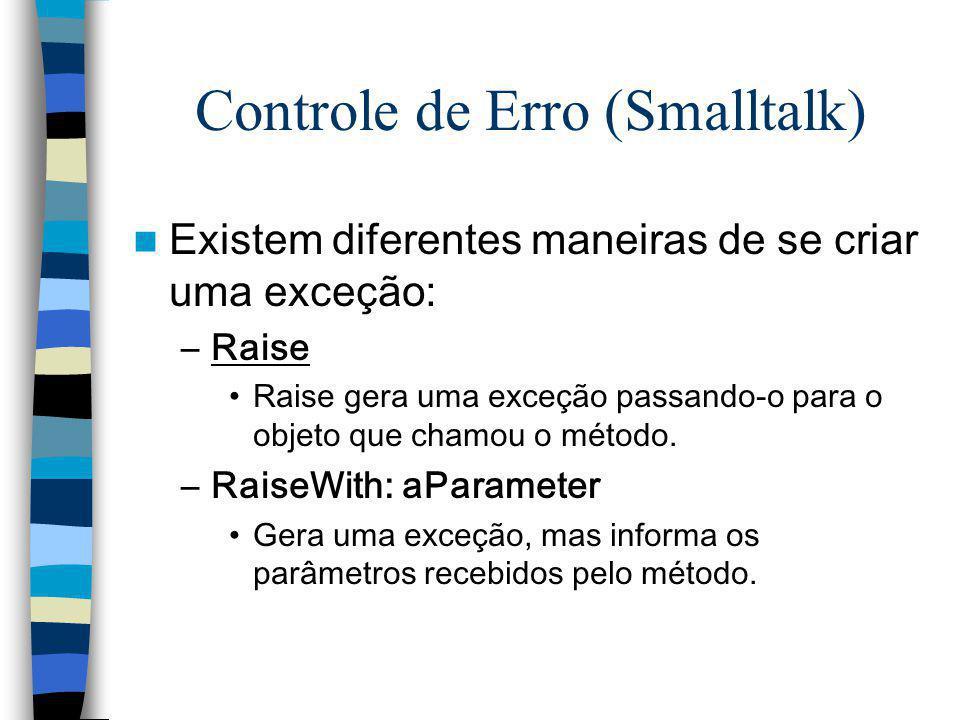 Controle de Erro (Smalltalk) Existem diferentes maneiras de se criar uma exceção: –Raise Raise gera uma exceção passando-o para o objeto que chamou o