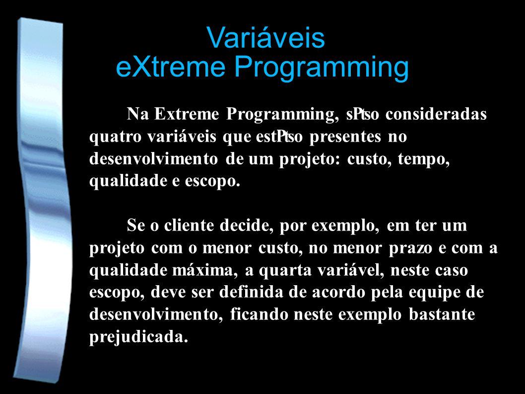 eXtreme Programming Variáveis Na Extreme Programming, so consideradas quatro variáveis que esto presentes no desenvolvimento de um projeto: custo, tempo, qualidade e escopo.