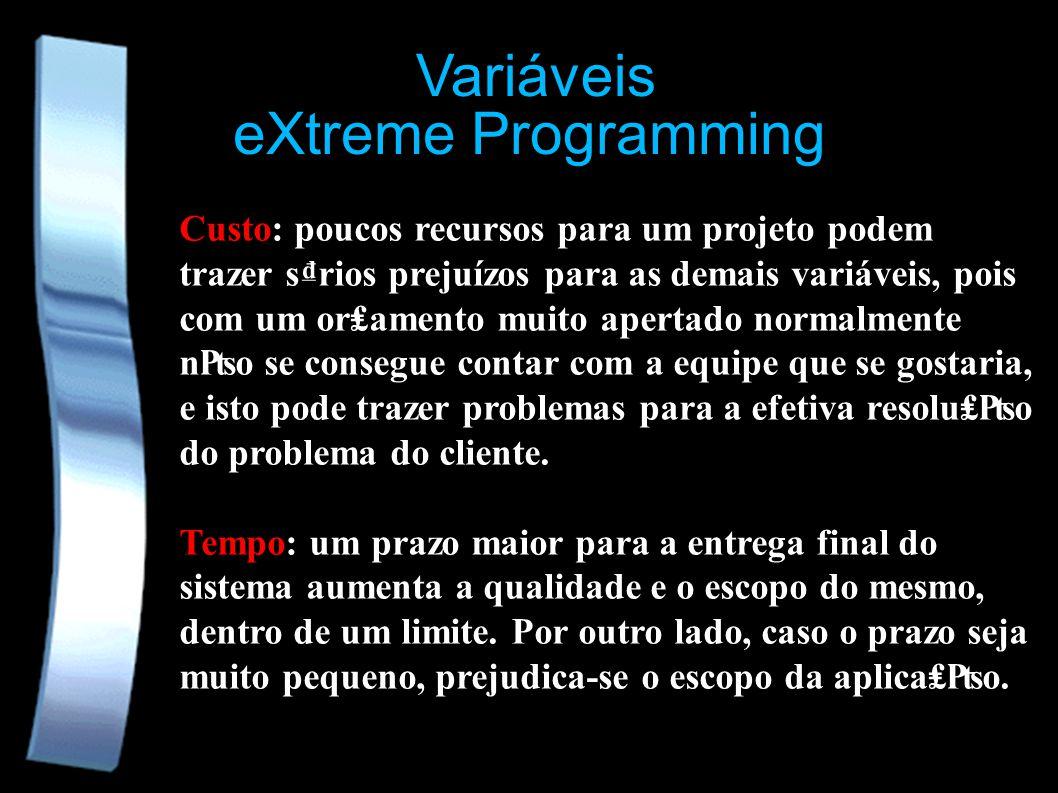 eXtreme Programming Variáveis Custo: poucos recursos para um projeto podem trazer srios prejuízos para as demais variáveis, pois com um oramento muito