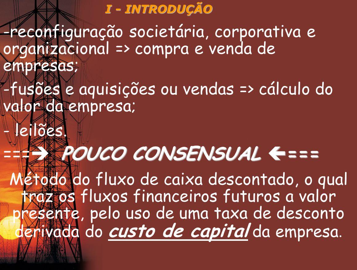 II – ESTRUTURA E CUSTO DE CAPITAL Custo do capital: é custo médio ponderado do capital próprio e do capital de terceiros, considerando-se os benefícios fiscais do imposto de renda e da contribuição social.