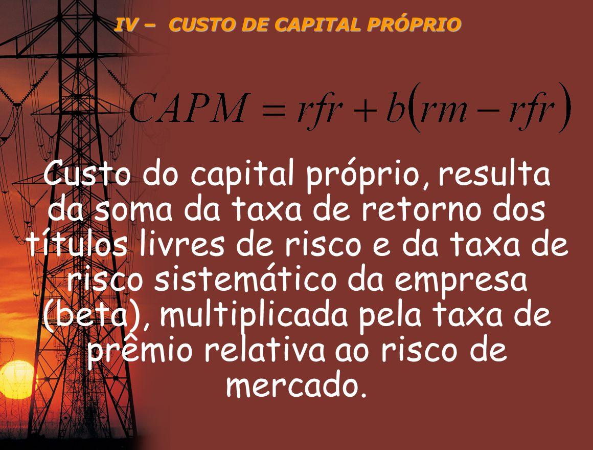 IV – CUSTO DE CAPITAL PRÓPRIO Custo do capital próprio, resulta da soma da taxa de retorno dos títulos livres de risco e da taxa de risco sistemático