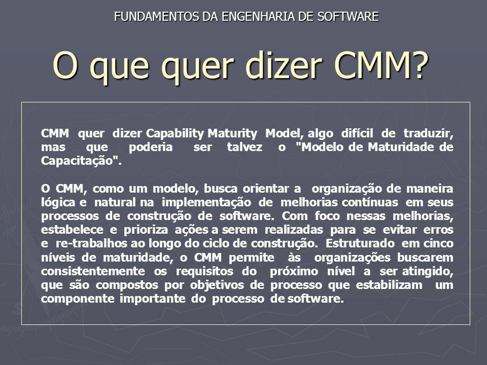O que quer dizer CMM? FUNDAMENTOS DA ENGENHARIA DE SOFTWARE CMM quer dizer Capability Maturity Model, algo difícil de traduzir, mas que poderia ser ta
