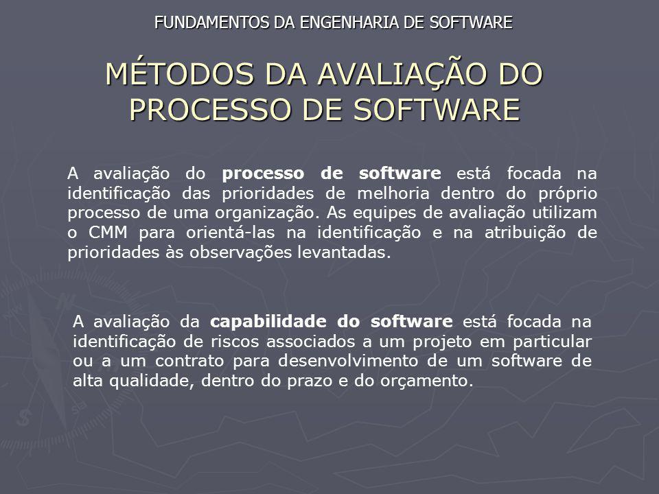 MÉTODOS DA AVALIAÇÃO DO PROCESSO DE SOFTWARE A avaliação do processo de software está focada na identificação das prioridades de melhoria dentro do pr