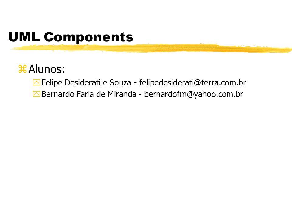 UML Components zAlunos: yFelipe Desiderati e Souza - felipedesiderati@terra.com.br yBernardo Faria de Miranda - bernardofm@yahoo.com.br