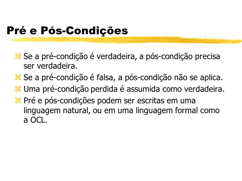 Pré e Pós-Condições zSe a pré-condição é verdadeira, a pós-condição precisa ser verdadeira. zSe a pré-condição é falsa, a pós-condição não se aplica.