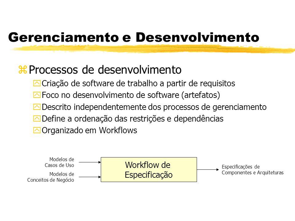 Gerenciamento e Desenvolvimento zProcessos de desenvolvimento yCriação de software de trabalho a partir de requisitos yFoco no desenvolvimento de soft
