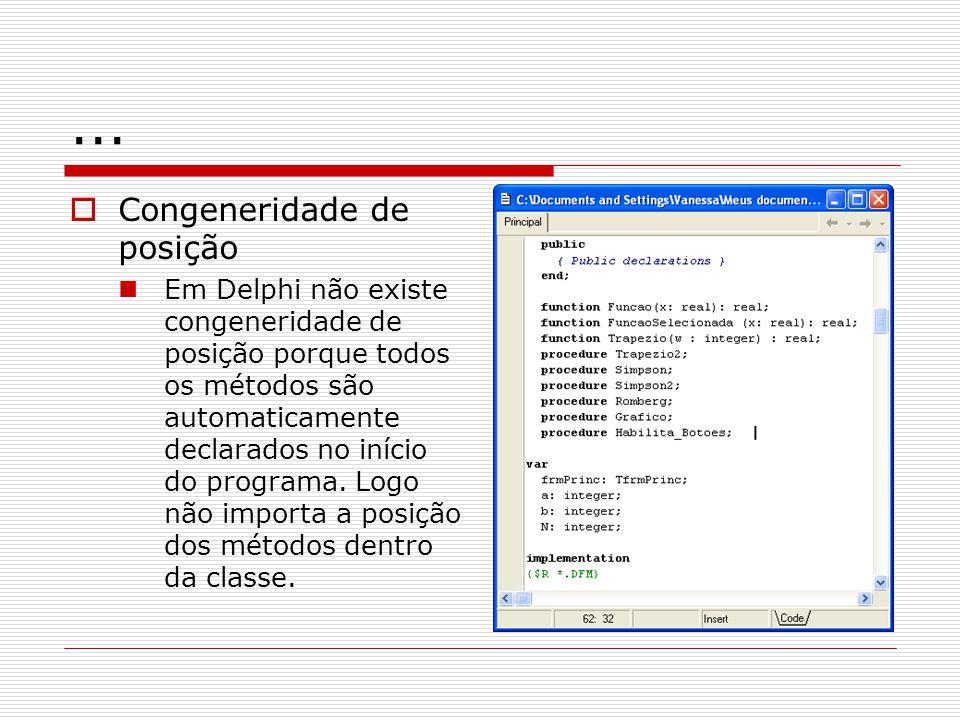 ... Congeneridade de posição Em Delphi não existe congeneridade de posição porque todos os métodos são automaticamente declarados no início do program