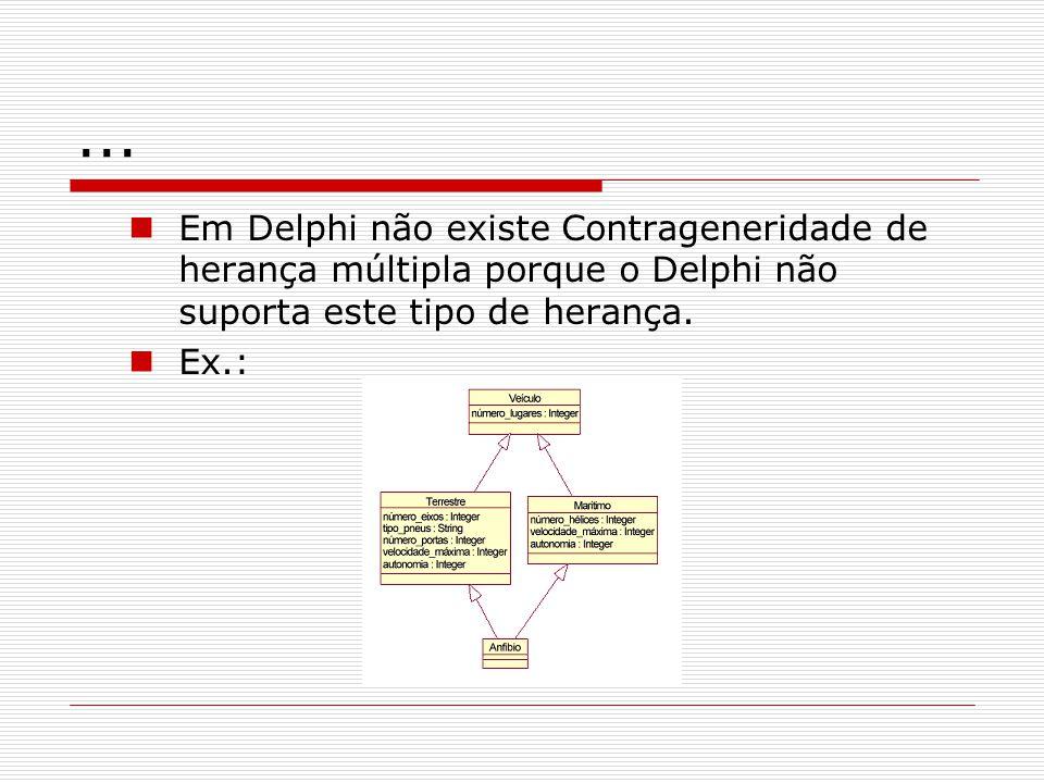 ... Em Delphi não existe Contrageneridade de herança múltipla porque o Delphi não suporta este tipo de herança. Ex.:
