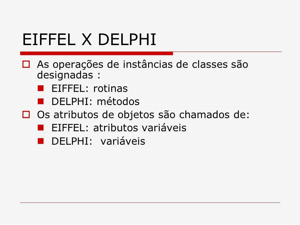 EIFFEL X DELPHI As operações de instâncias de classes são designadas : EIFFEL: rotinas DELPHI: métodos Os atributos de objetos são chamados de: EIFFEL