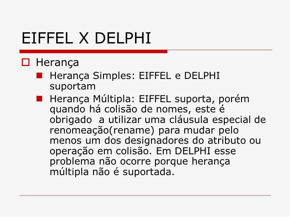 EIFFEL X DELPHI Herança Herança Simples: EIFFEL e DELPHI suportam Herança Múltipla: EIFFEL suporta, porém quando há colisão de nomes, este é obrigado