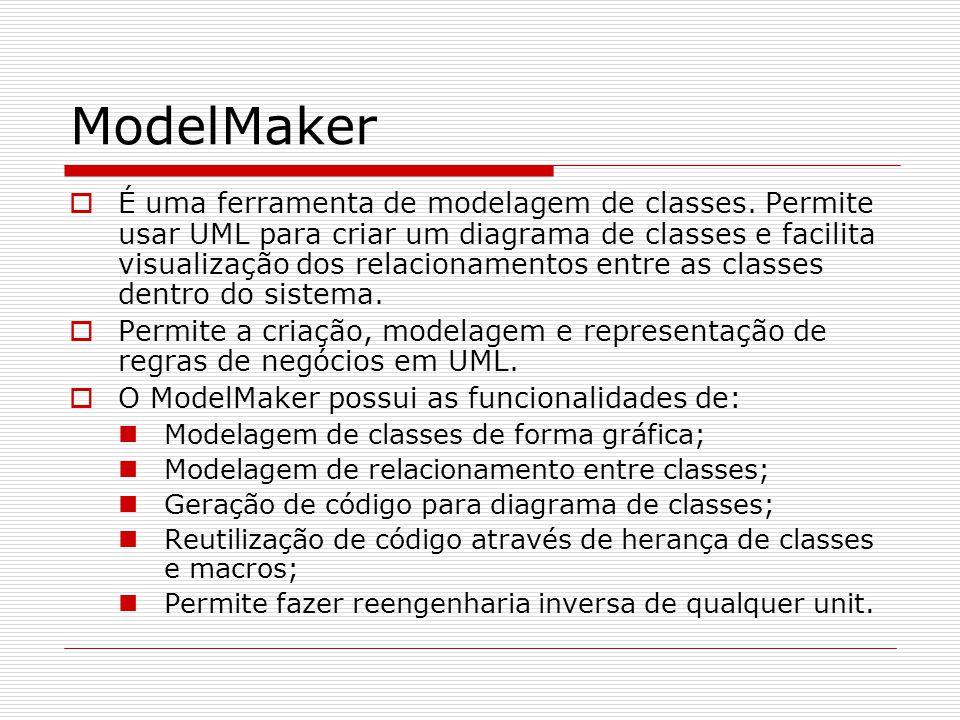 ModelMaker É uma ferramenta de modelagem de classes. Permite usar UML para criar um diagrama de classes e facilita visualização dos relacionamentos en