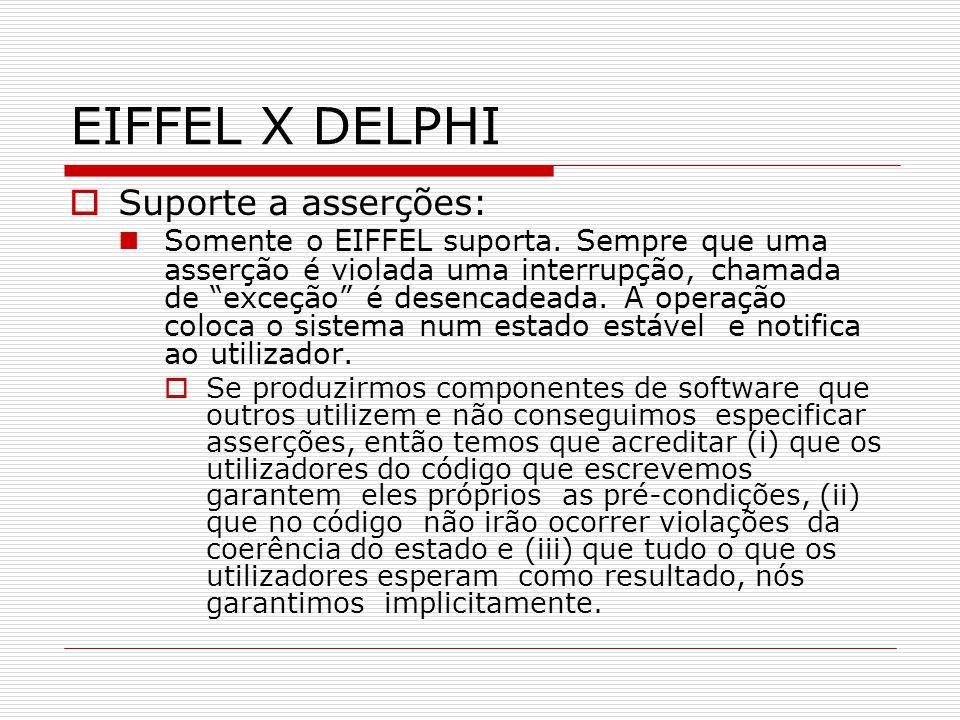 EIFFEL X DELPHI Suporte a asserções: Somente o EIFFEL suporta. Sempre que uma asserção é violada uma interrupção, chamada de exceção é desencadeada. A