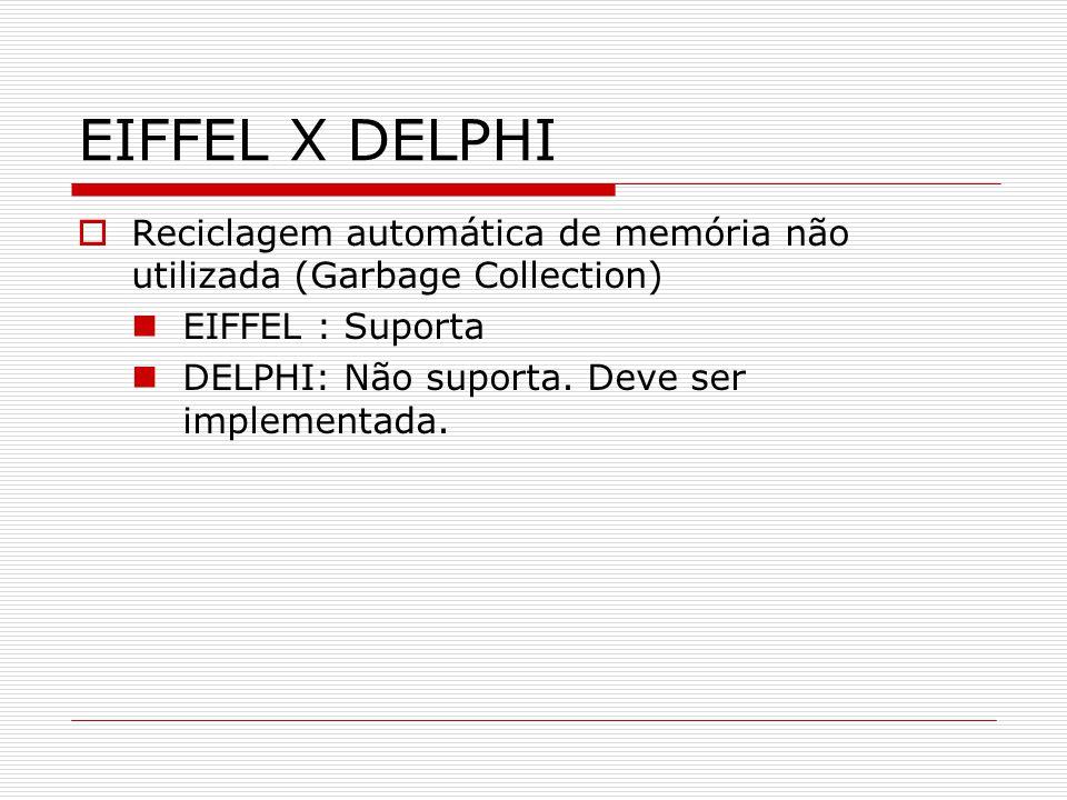EIFFEL X DELPHI Reciclagem automática de memória não utilizada (Garbage Collection) EIFFEL : Suporta DELPHI: Não suporta. Deve ser implementada.