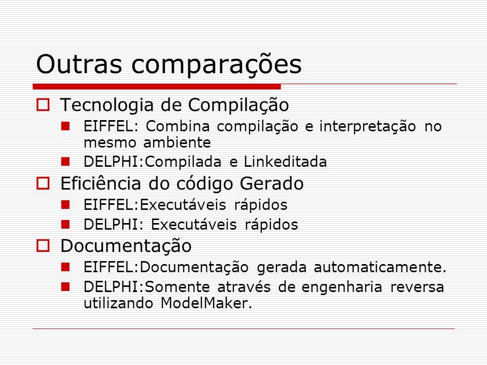 Outras comparações Tecnologia de Compilação EIFFEL: Combina compilação e interpretação no mesmo ambiente DELPHI:Compilada e Linkeditada Eficiência do