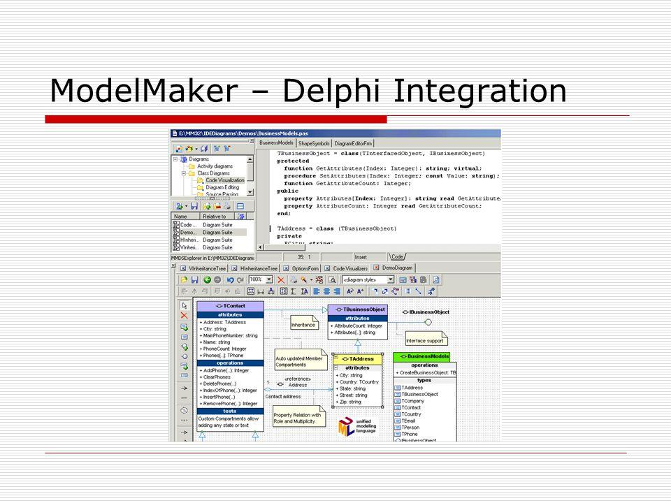 Bold O Bold para Delphi fornece uma poderosa estrutura de objetos de negócio, Model Driven Architecture, que interliga o ambiente de modelagem UML do Rational Rose com o ambiente de projeto de aplicações em Delphi.
