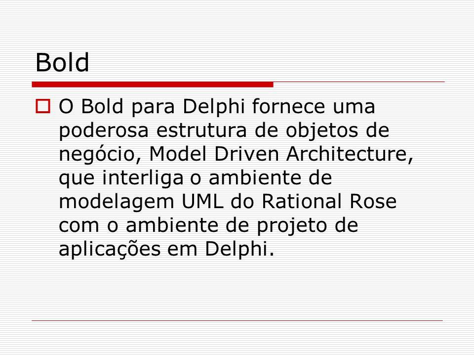 Bold O Bold para Delphi fornece uma poderosa estrutura de objetos de negócio, Model Driven Architecture, que interliga o ambiente de modelagem UML do
