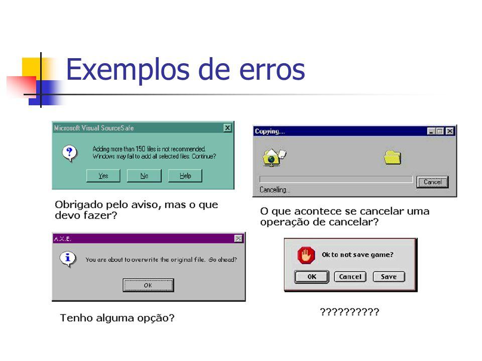 Exemplos de erros