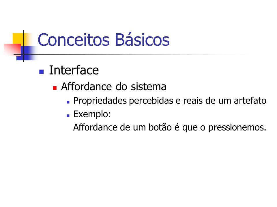 Conceitos Básicos Interface Affordance do sistema Propriedades percebidas e reais de um artefato Exemplo: Affordance de um botão é que o pressionemos.