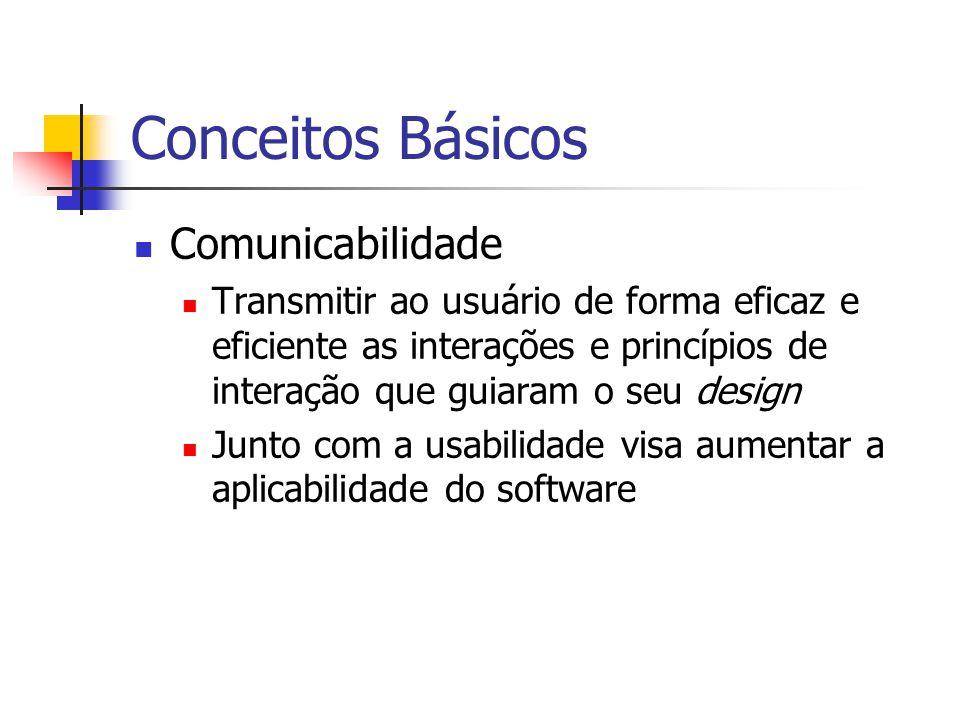 Conceitos Básicos Comunicabilidade Transmitir ao usuário de forma eficaz e eficiente as interações e princípios de interação que guiaram o seu design Junto com a usabilidade visa aumentar a aplicabilidade do software