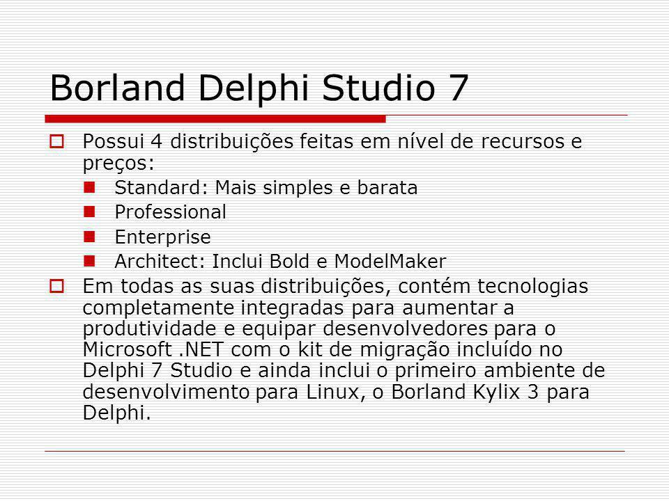 Borland Delphi Studio 7 Pontos importantes: Construção de aplicações Web dinâmicas rapidamente e facilmente com o desenvolvimento RAD visual de aplicações Web Server-side.