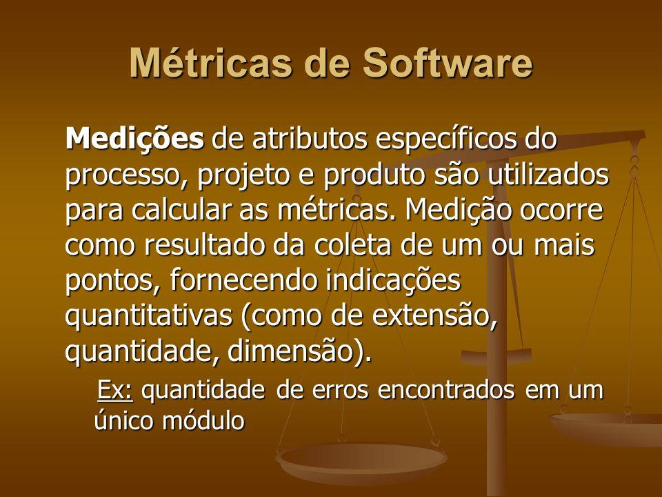 Métricas de Software Medições de atributos específicos do processo, projeto e produto são utilizados para calcular as métricas. Medição ocorre como re