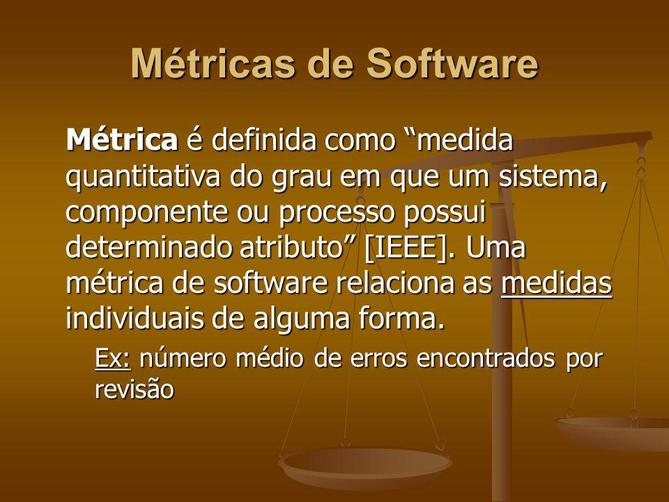 Métricas de Software Métrica é definida como medida quantitativa do grau em que um sistema, componente ou processo possui determinado atributo [IEEE].