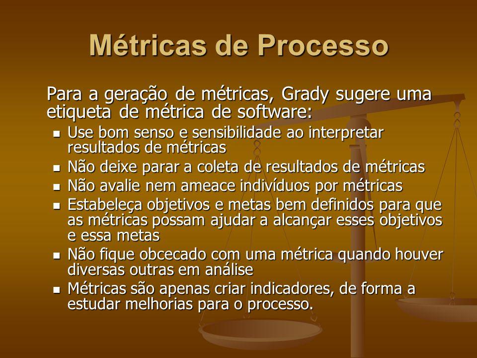 Métricas de Processo Para a geração de métricas, Grady sugere uma etiqueta de métrica de software: Use bom senso e sensibilidade ao interpretar result